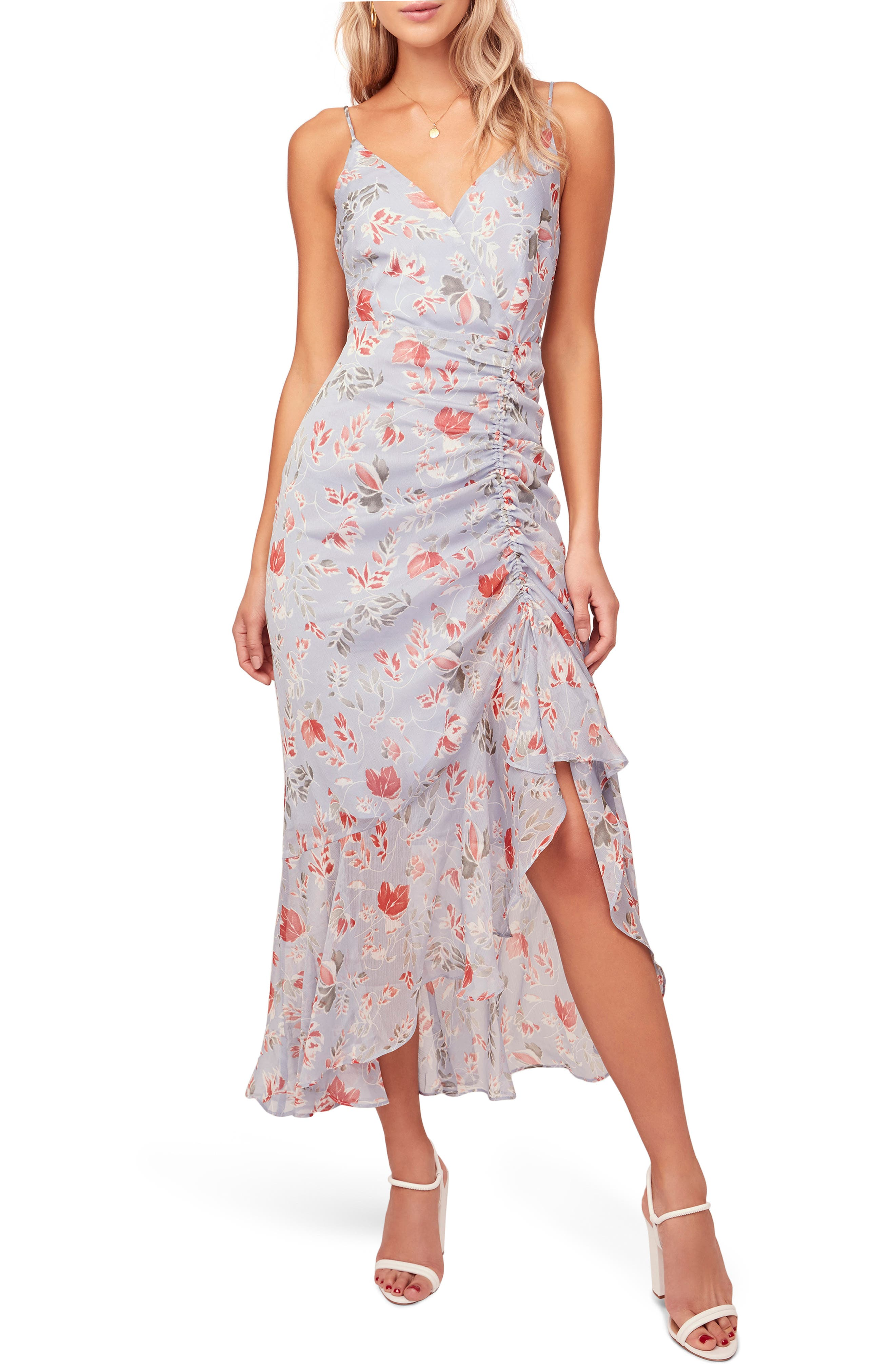 Astr The Label Mariah Ruched Floral Print Midi Dress, Blue