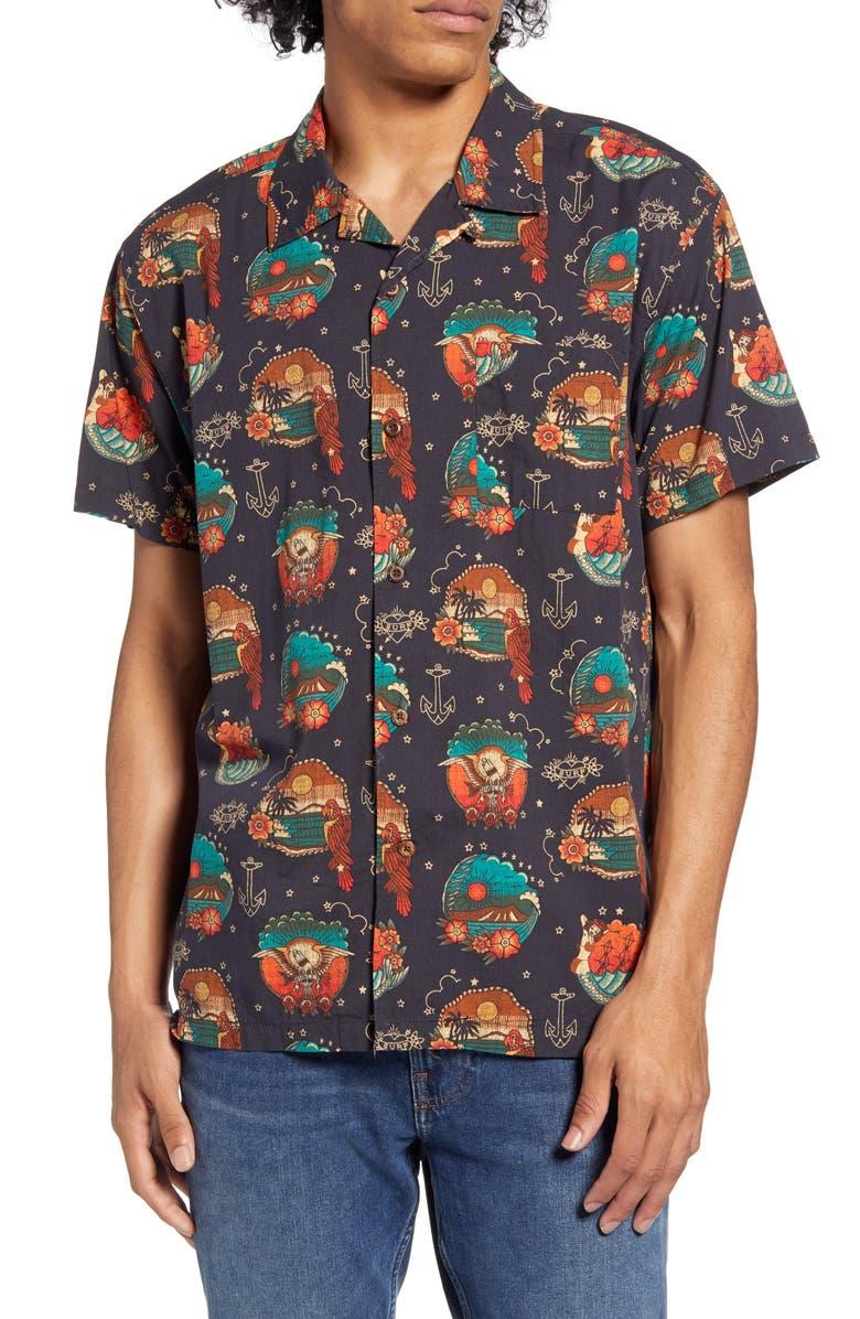 HURLEY Trop Flash Short Sleeve Button-Up Camp Shirt, Main, color, BLACK
