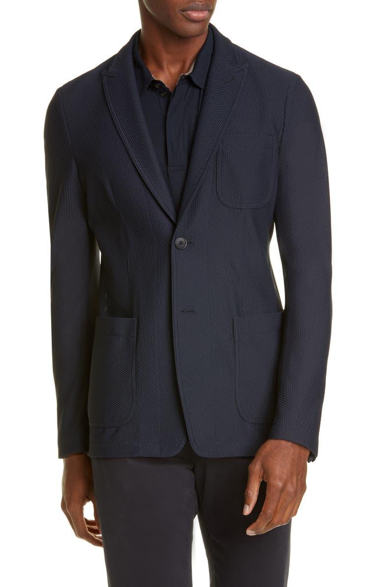 GIORGIO ARMANI Classic Fit Knit Blazer, Main, color, NAVY