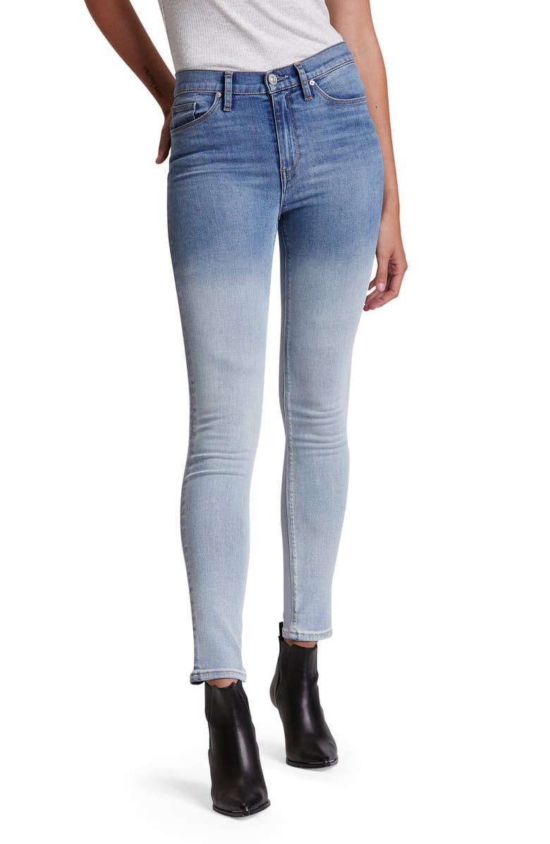HUDSON JEANS Barbara High Waist Super Skinny Jeans, Main, color, DIPPED WHITE