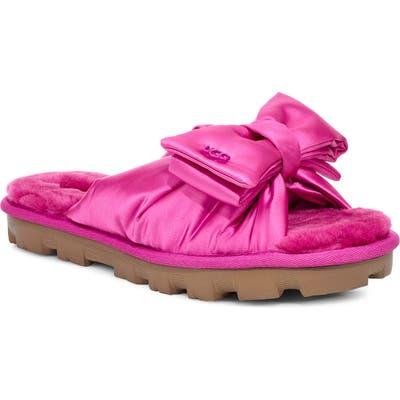 Ugg Lushette Puffer Genuine Shearling Slide Slipper, Pink
