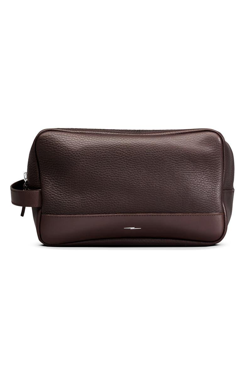 SHINOLA Leather Travel Kit, Main, color, DEEP BROWN