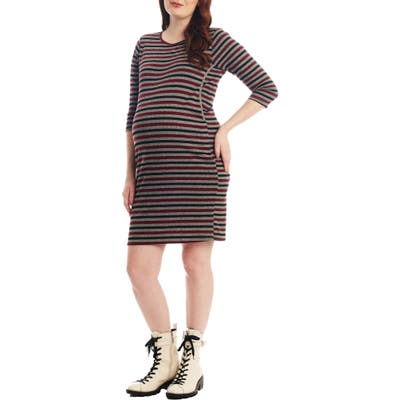 Everly Grey Estela Stripe Maternity/nursing Dress, Red