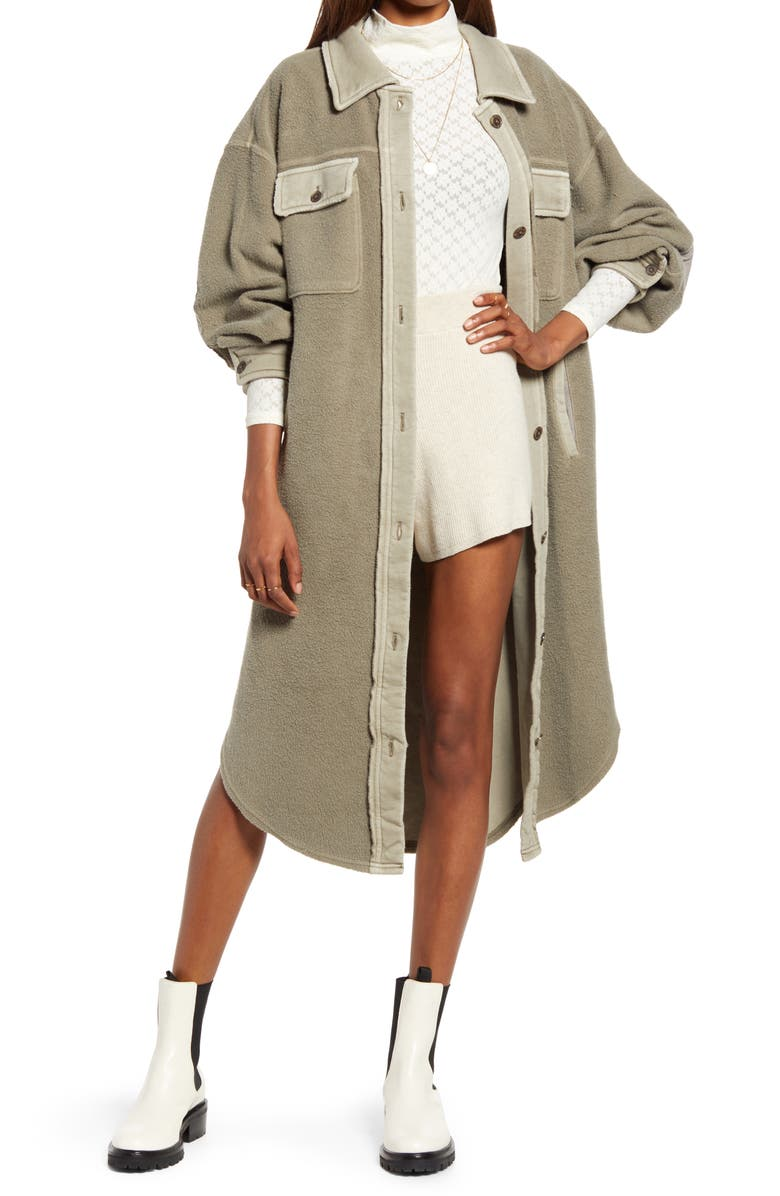 FREE PEOPLE Women's Ruby Longline Jacket, Main, color, DIRTY OLIVE