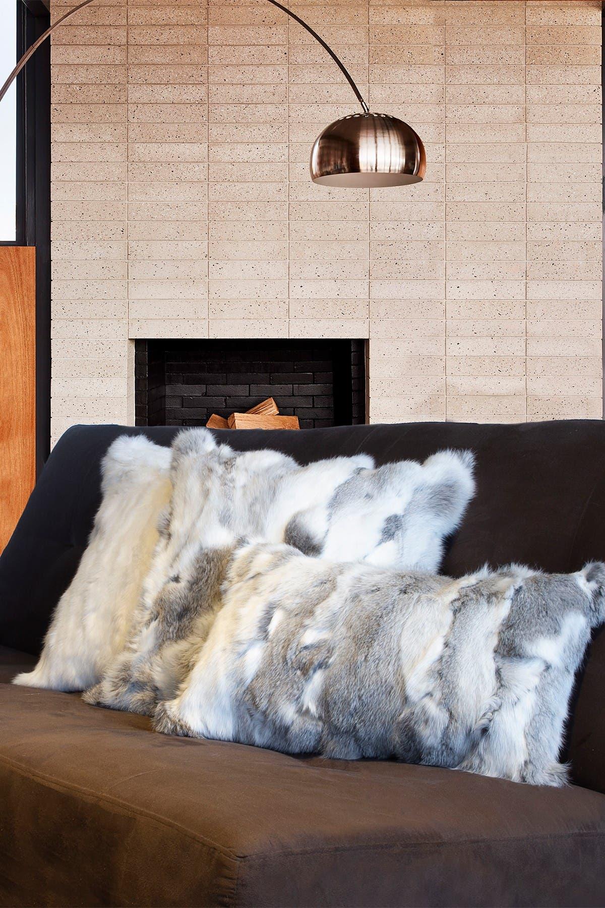 "Image of Natural Genuine Rabbit Fur Pillow - Set of 2 - 18"" x 18"" - Grey"