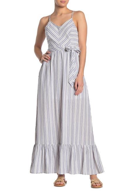 Image of HYFVE Stripe Waist Tie Ruffle Hem Maxi Dress