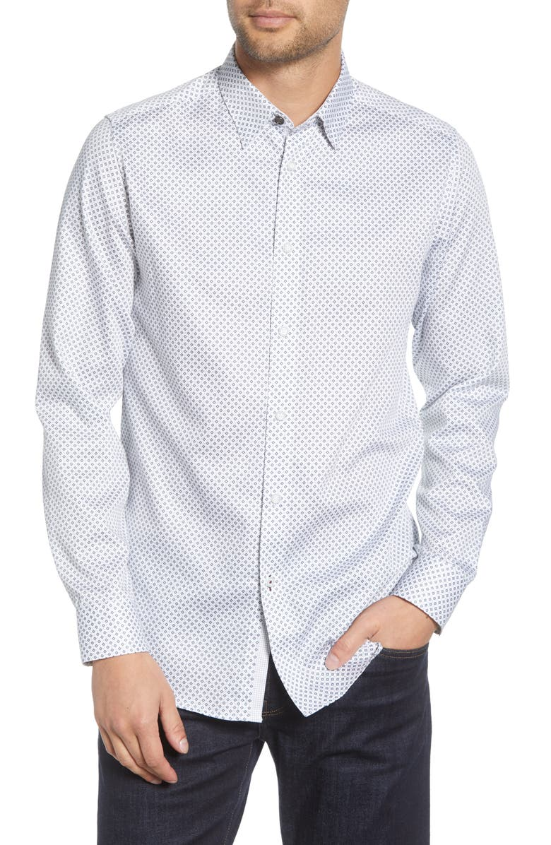 TED BAKER LONDON Merci Slim Fit Geo Print Button-Up Shirt, Main, color, WHITE