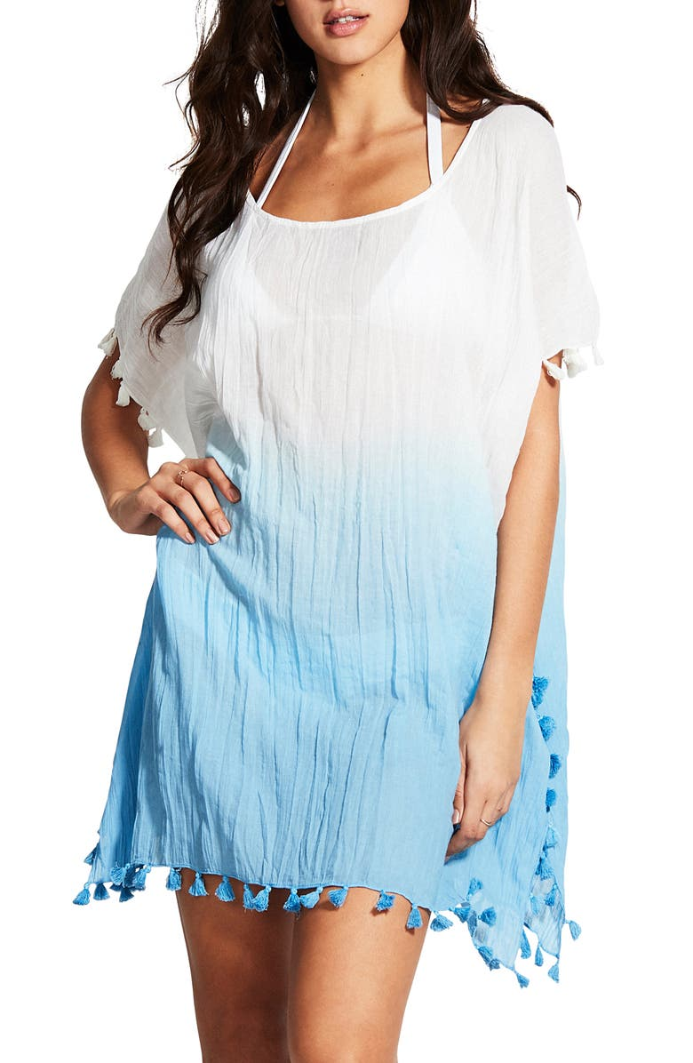 SEAFOLLY Dip Dye Tassel Cotton Cover-Up Caftan, Main, color, 400