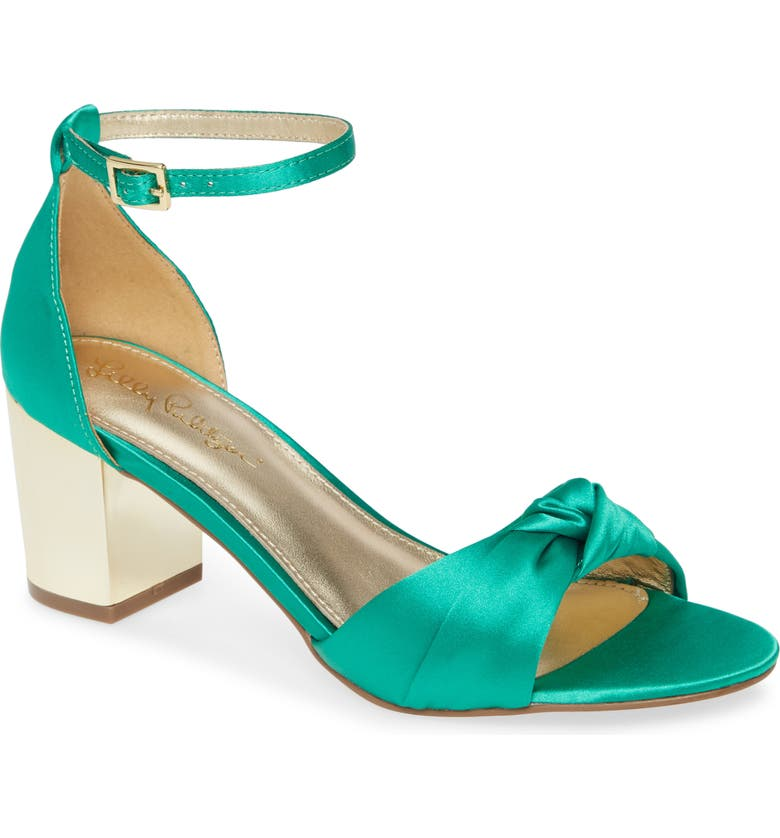 LILLY PULITZER<SUP>®</SUP> Colleen Ankle Strap Sandal, Main, color, EMERALD SATIN
