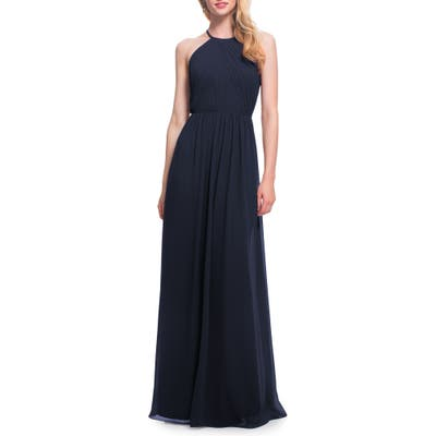 #levkoff Open Back Halter Neck Chiffon Gown, Blue