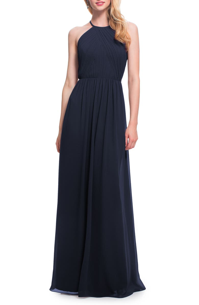 #LEVKOFF Open Back Halter Neck Chiffon Gown, Main, color, NAVY