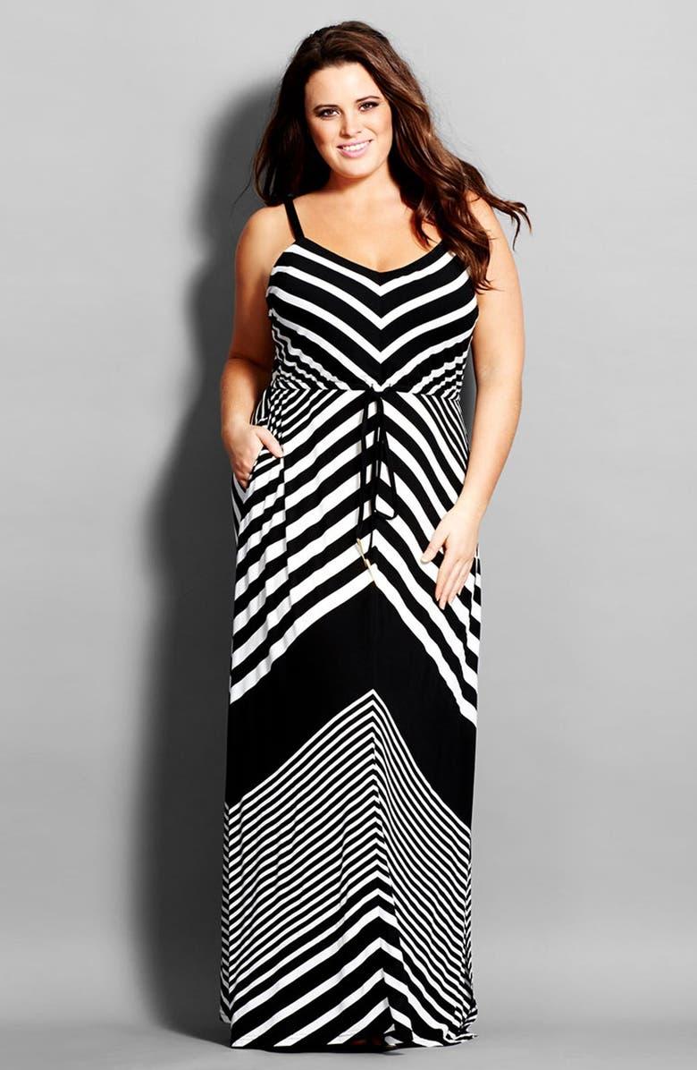 City Chic Chevron Stripe Jersey Maxi Dress (Plus Size) | Nordstrom