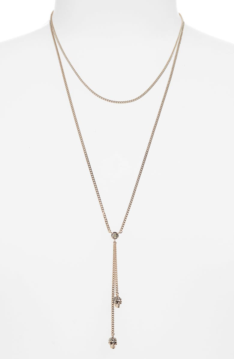 ALEXANDER MCQUEEN Thin Chain Necklace, Main, color, GOLD