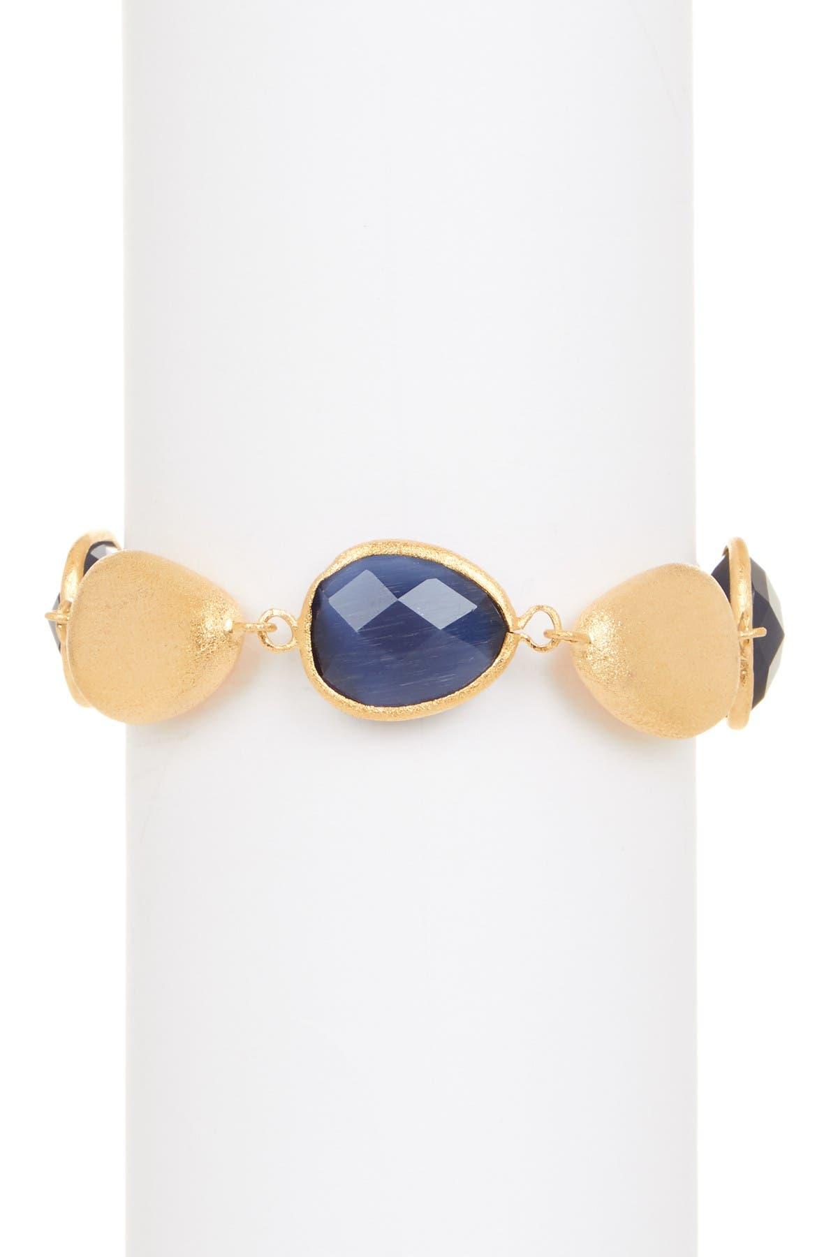 Image of Rivka Friedman 18K Gold Clad Cats Eye Crystal Satin Pebble Bracelet