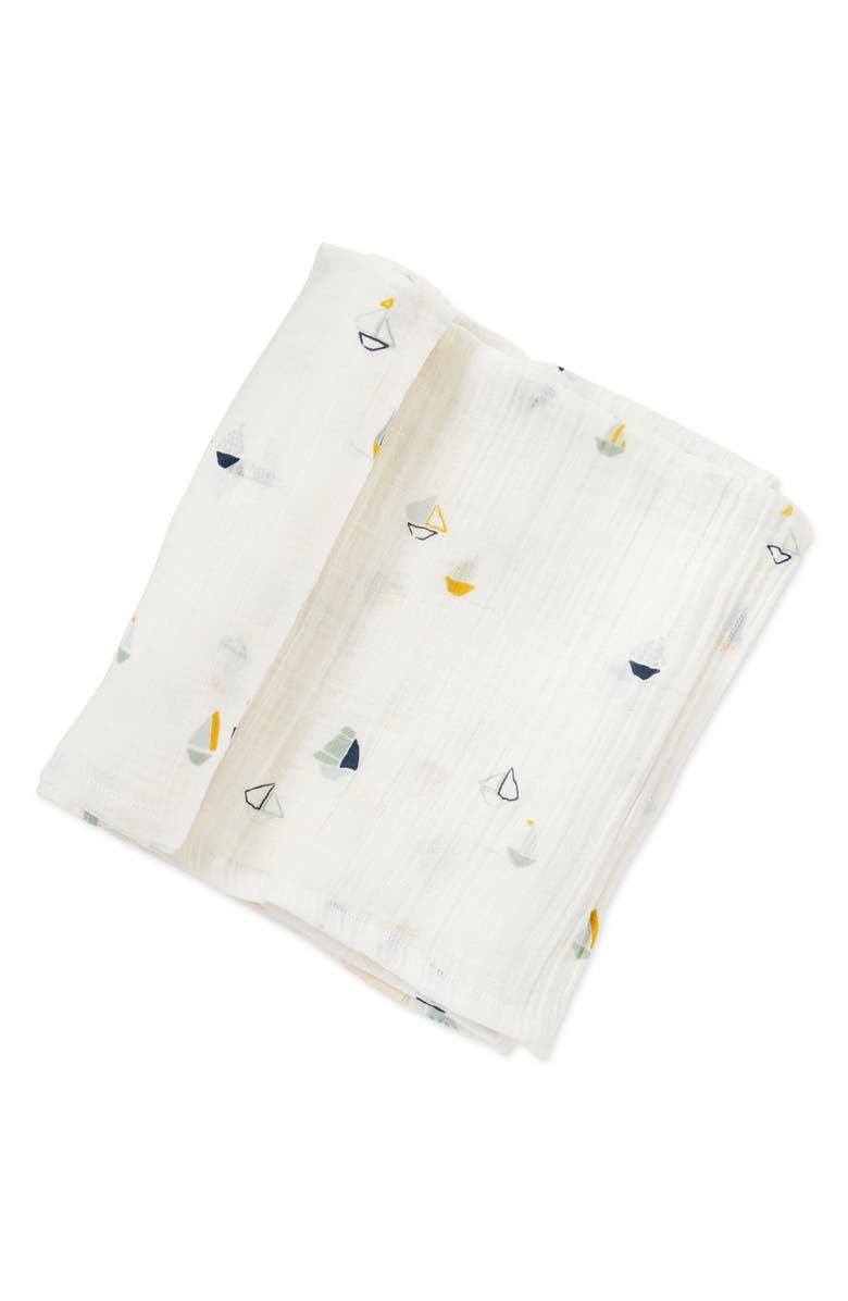 PEHR Sailor Organic Cotton Swaddle Blanket, Main, color, 100