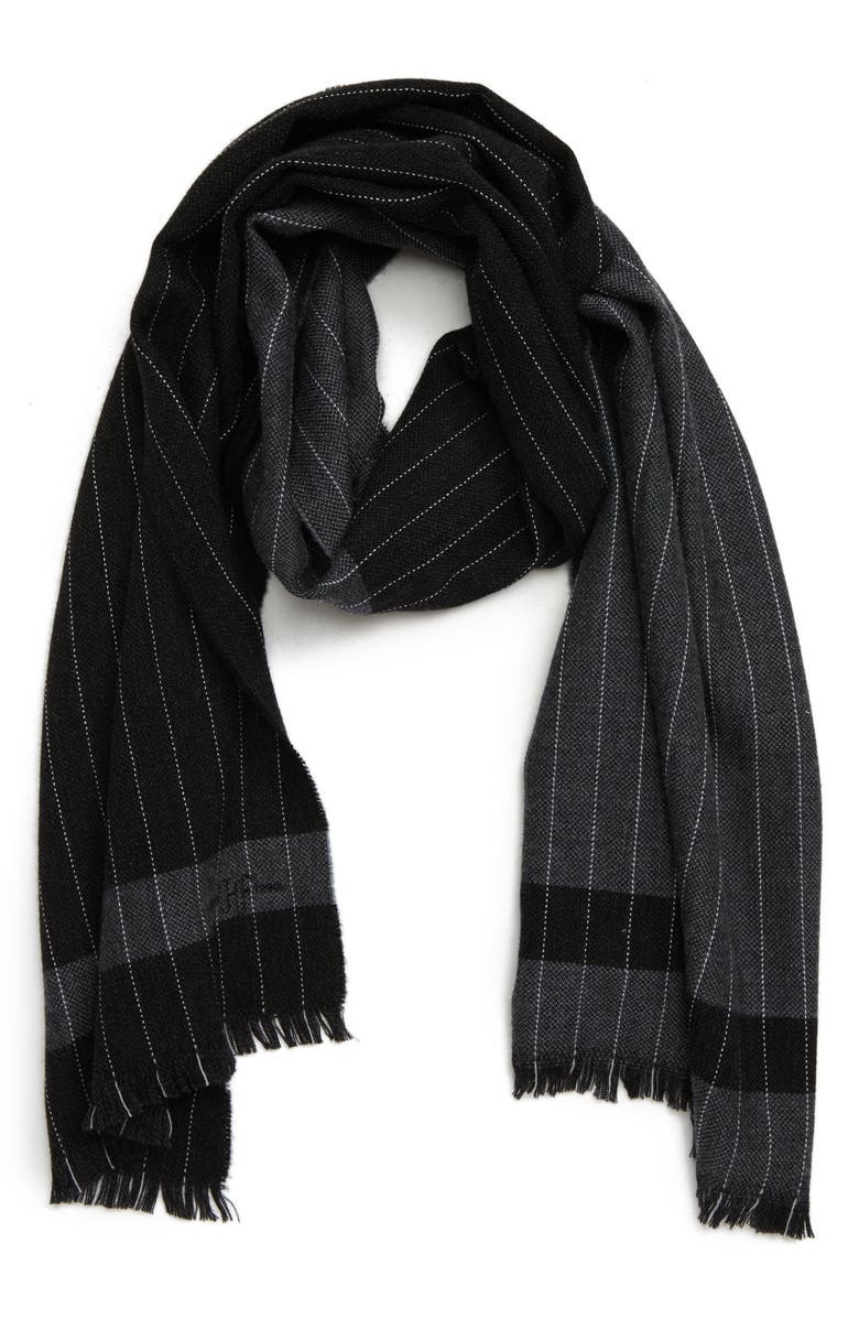 HICKEY FREEMAN Colorblock Chalk Stripe Wool Scarf, Main, color, 001