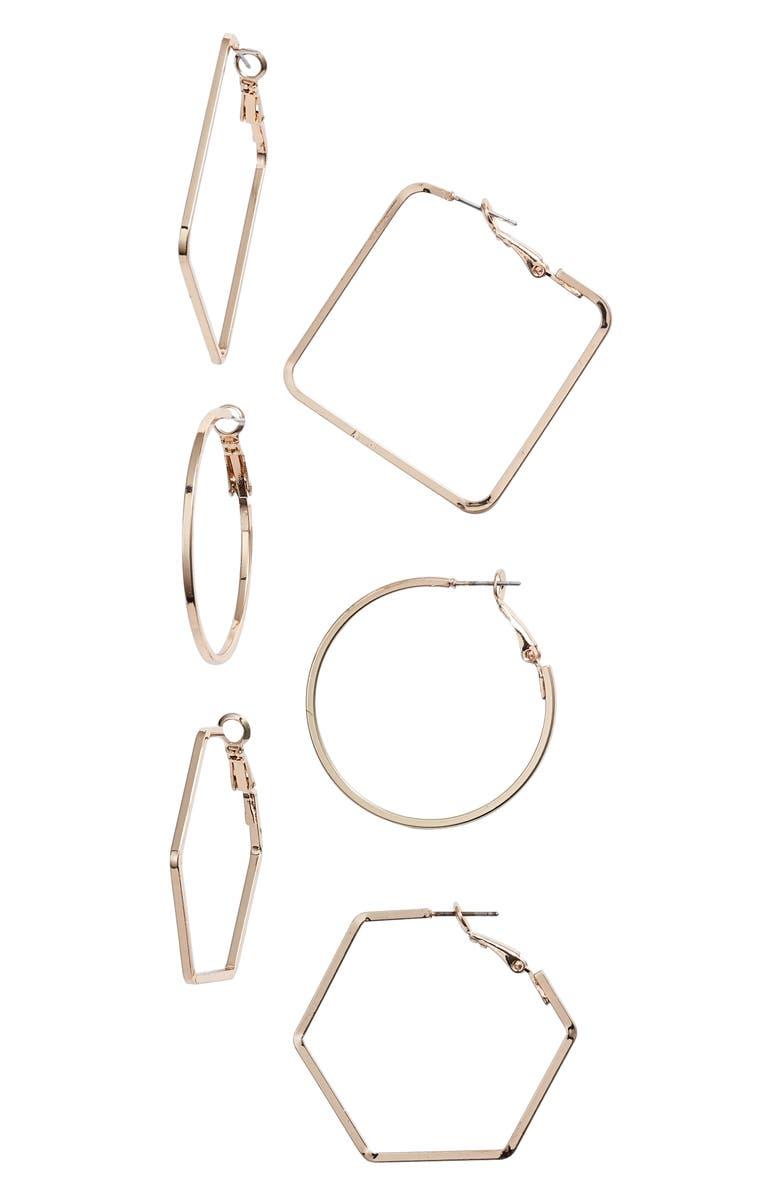 8 OTHER REASONS Amber 3-Pair Hoop Earring Set, Main, color, 710