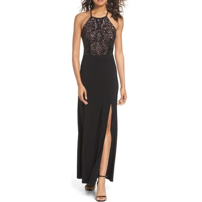 Morgan & Co. Sequin Halter Gown, /6 - Black