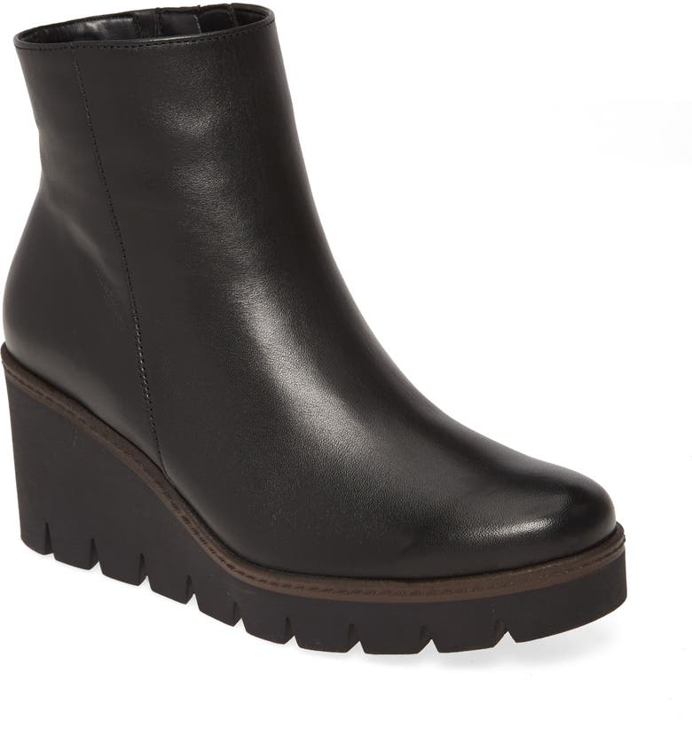 GABOR Wedge Boot, Main, color, BLACK NAPPA LEATHER