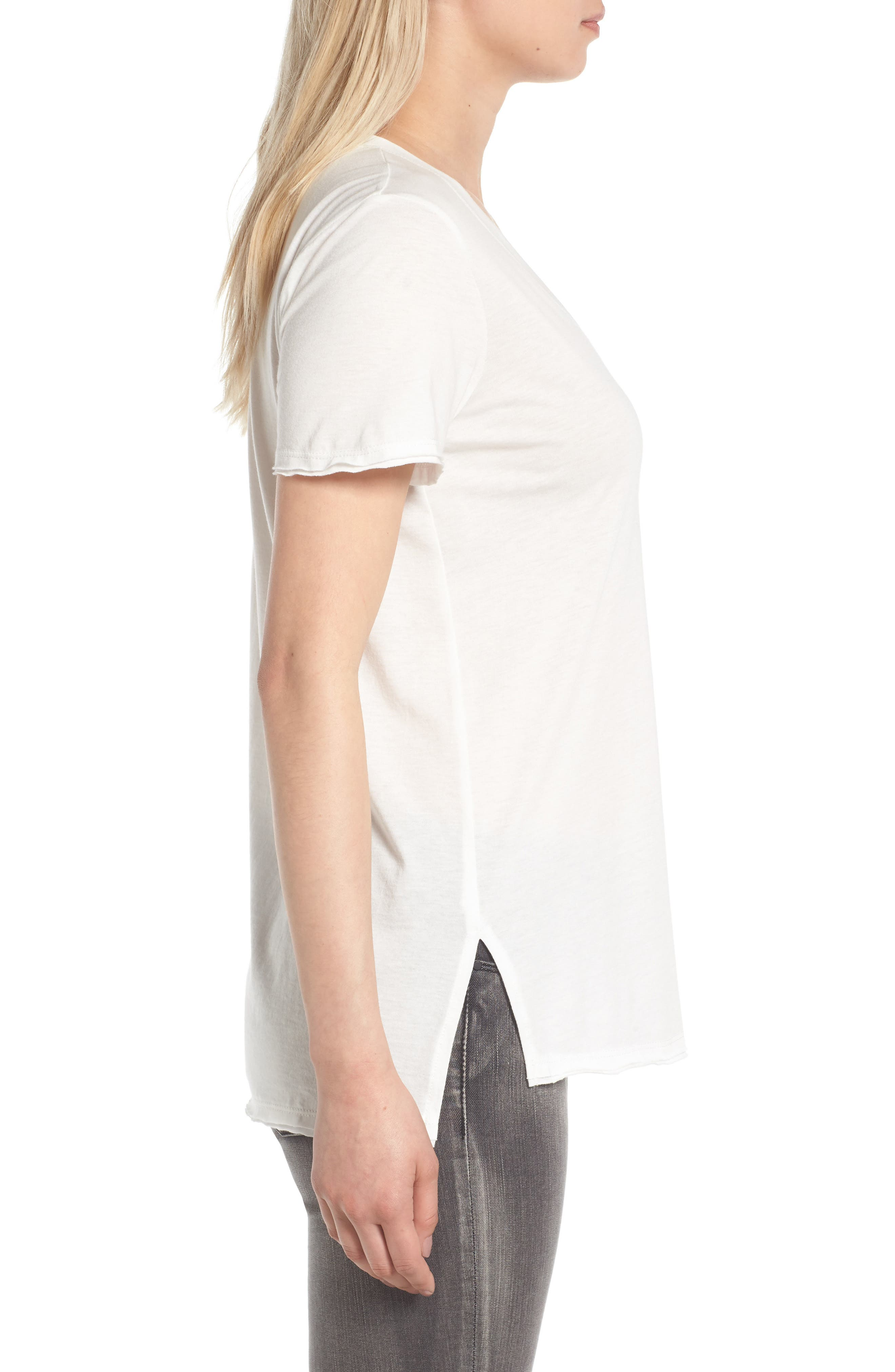 ,                             Raw Edge Side Slit Tee,                             Alternate thumbnail 33, color,                             100