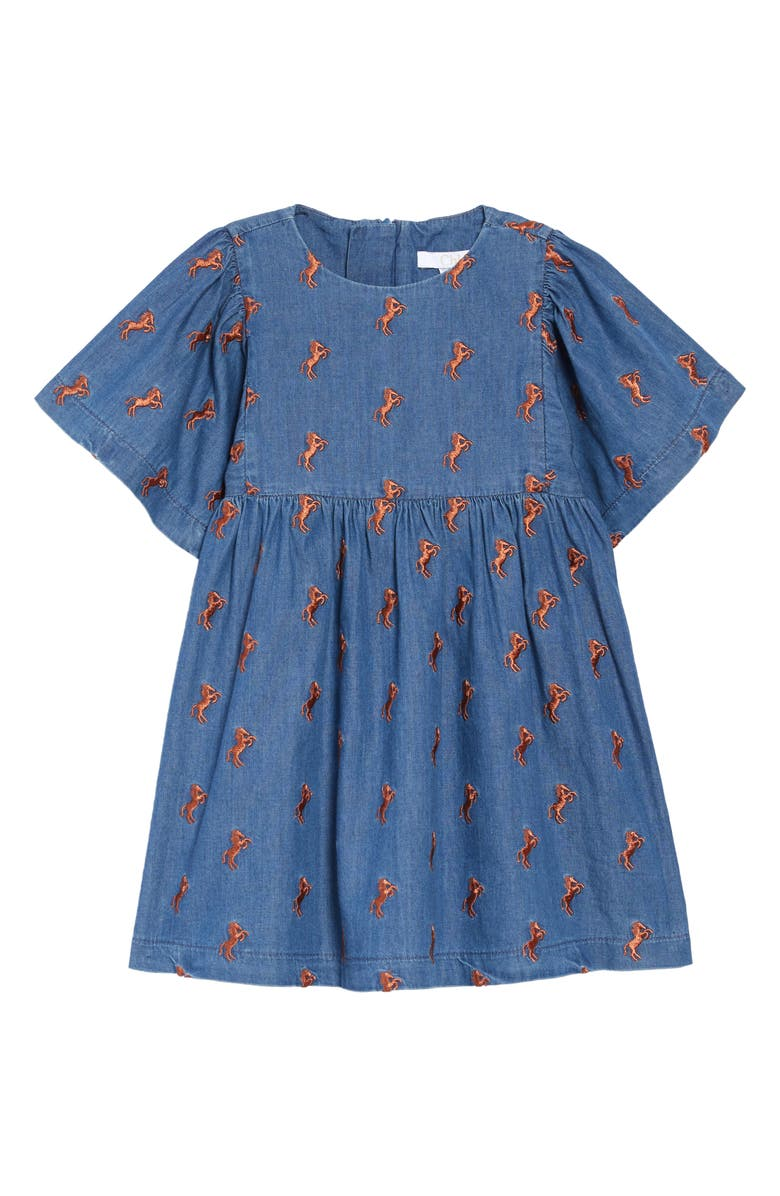 CHLOÉ Embroidered Denim Dress, Main, color, 400