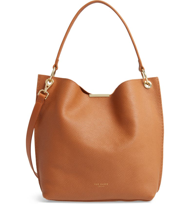 TED BAKER LONDON Helgesoft Leather Hobo Bag, Main, color, TAN
