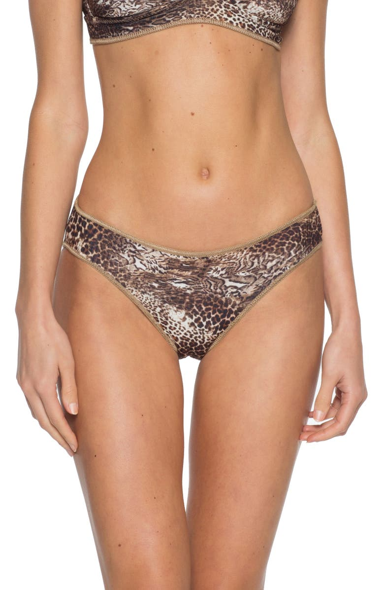 BECCA Purfection Leopard Print Hipster Bikini Bottoms, Main, color, MULTI