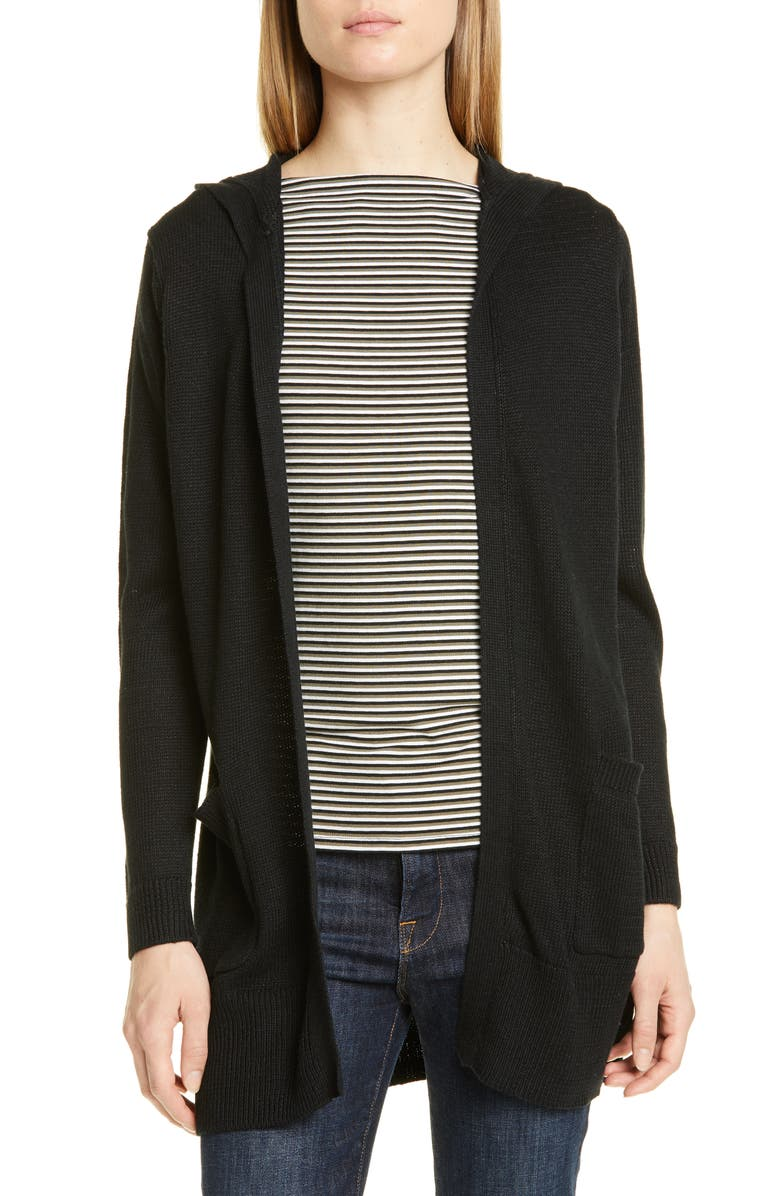 NORDSTROM SIGNATURE Linen & Cotton Hooded Cardigan, Main, color, 001