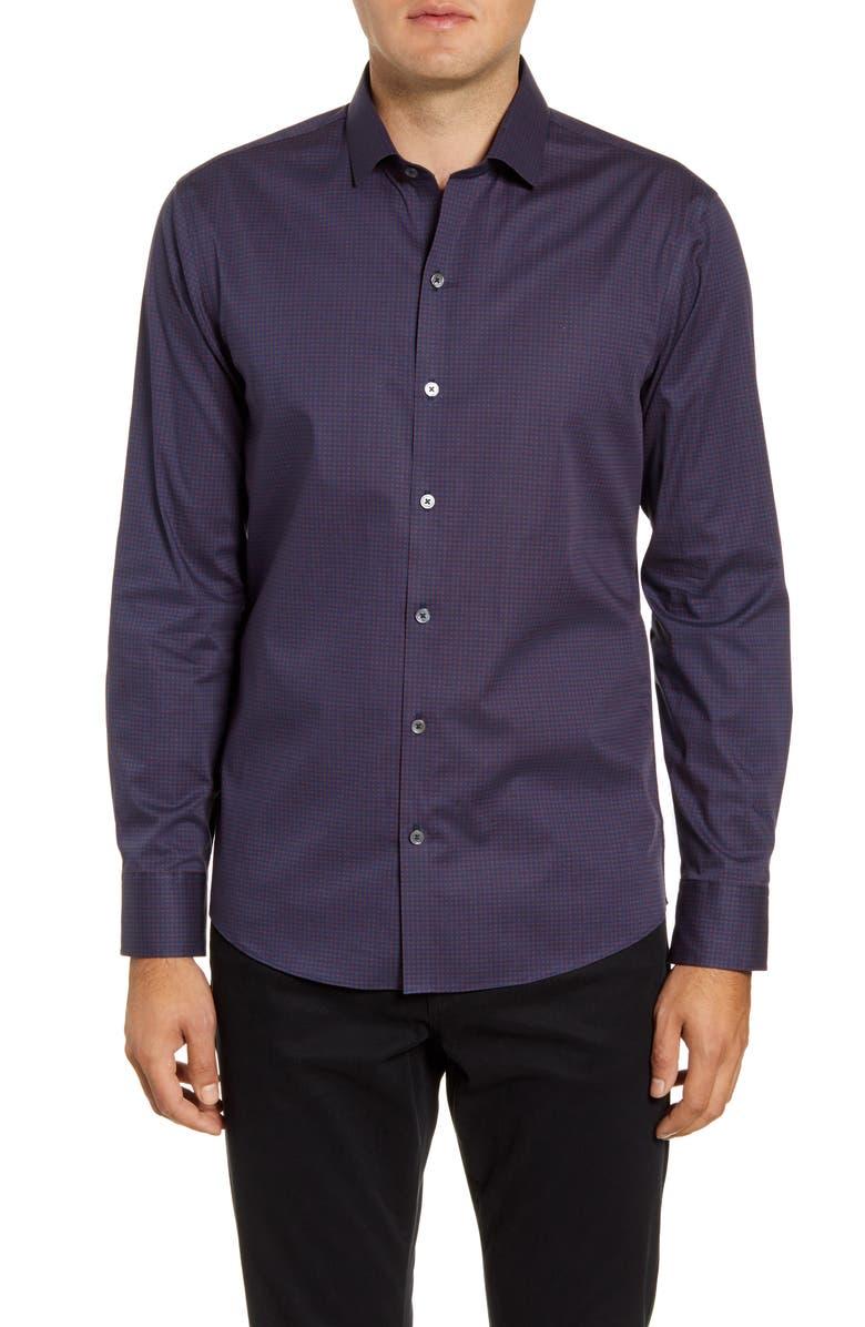 ZACHARY PRELL Shea Regular Fit Button-Up Shirt, Main, color, BURGUNDY