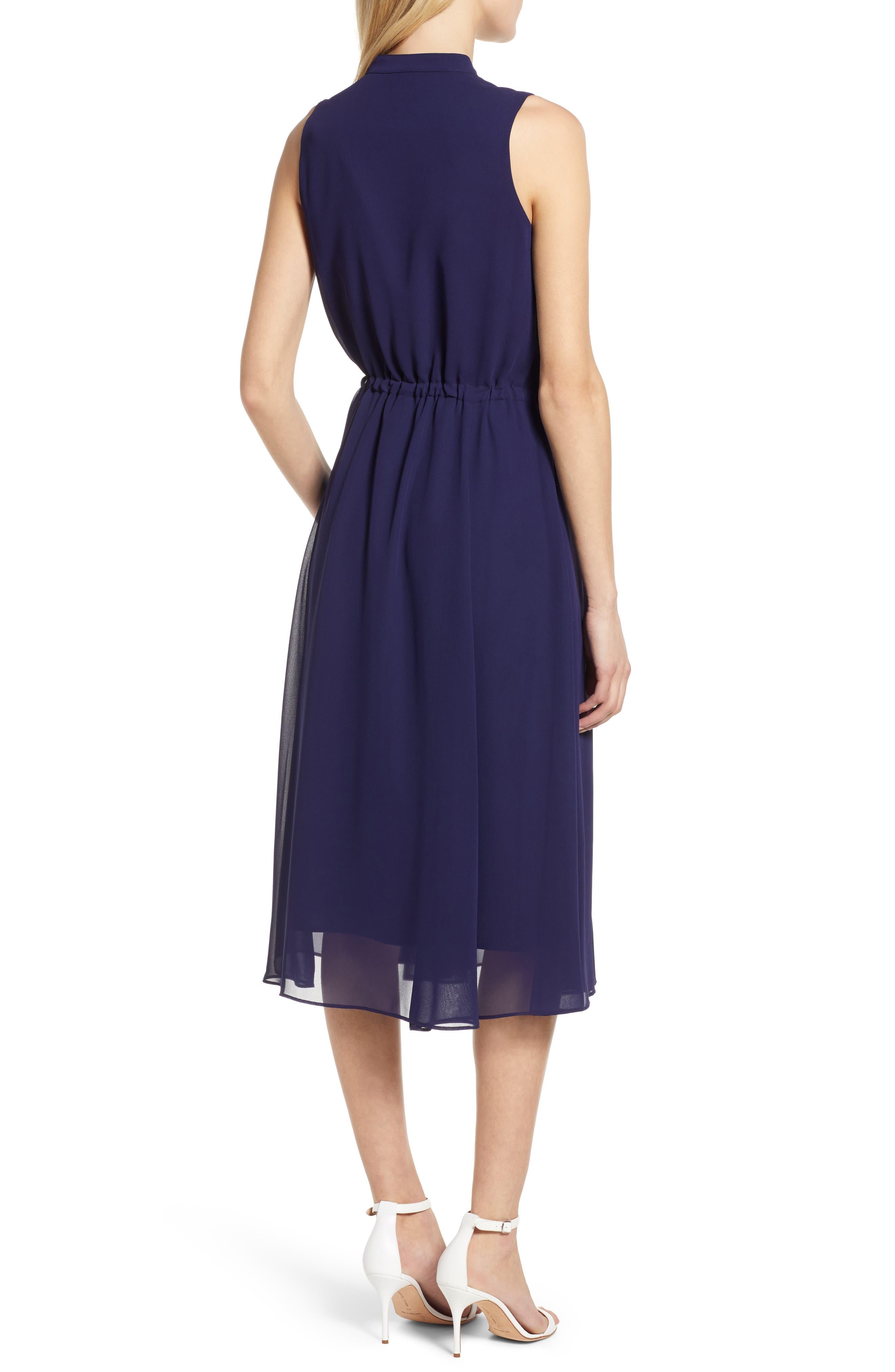 ,                             Chiffon Drawstring Midi Dress,                             Alternate thumbnail 2, color,                             DISTANT MOUNTAIN