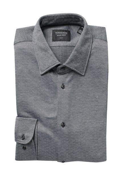 Image of NORDSTROM MEN'S SHOP Knit Trim Jacquard Dress Shirt