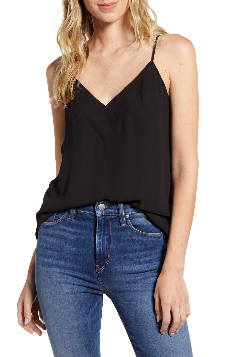 CHELSEA28 Crossover Camisole, Main, color, BLACK