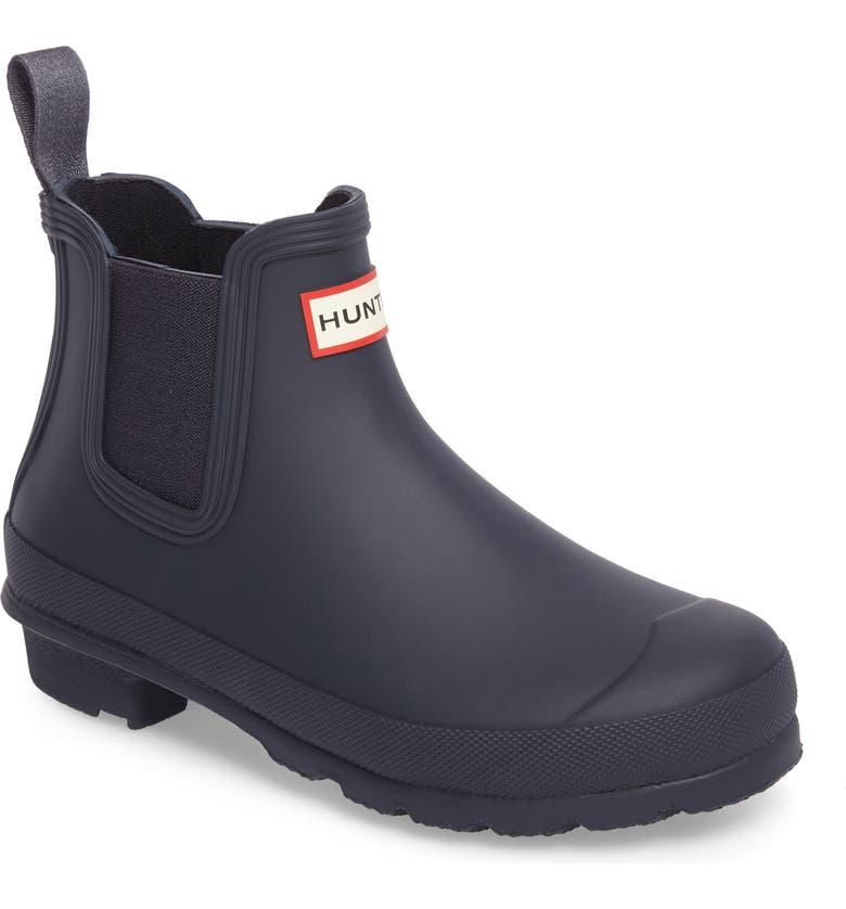 HUNTER Original Waterproof Chelsea Rain Boot, Main, color, NAVY
