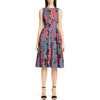 Carolina Herrera Wisteria Print Fit & Flare Dress, Black