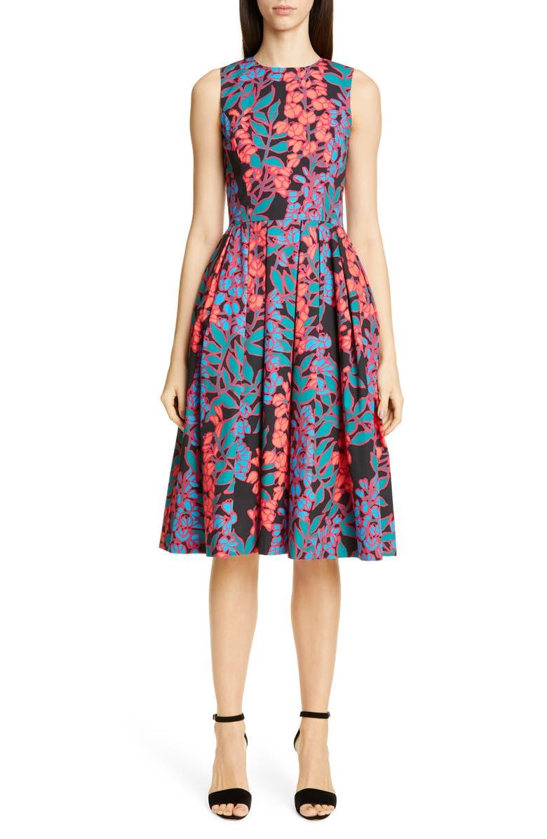 CAROLINA HERRERA Wisteria Print Fit & Flare Dress, Main, color, BLACK MULTI