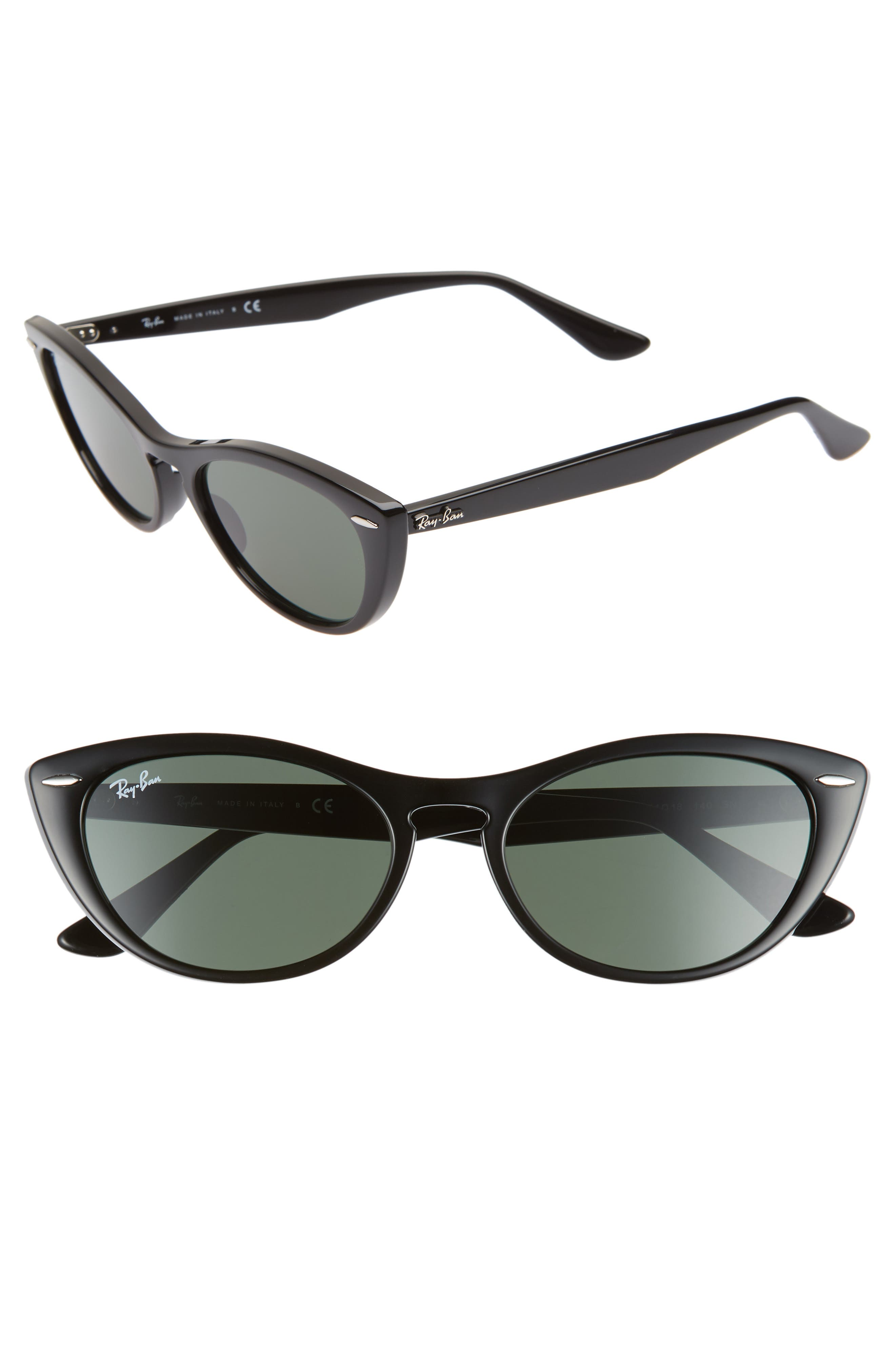 Ray-Ban Nina 5m Cat Eye Sunglasses - Black/ Green Solid