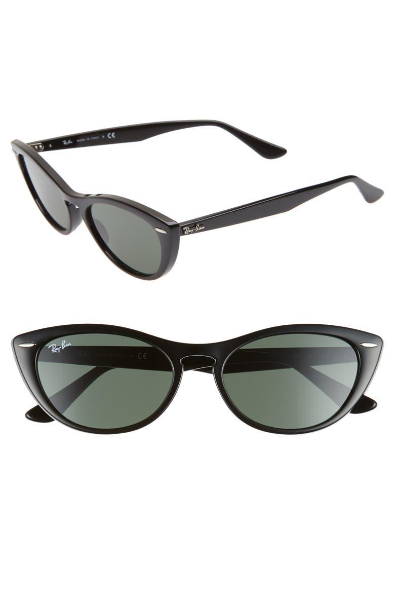 RAY-BAN Nina 54mm Cat Eye Sunglasses, Main, color, BLACK/ GREEN SOLID
