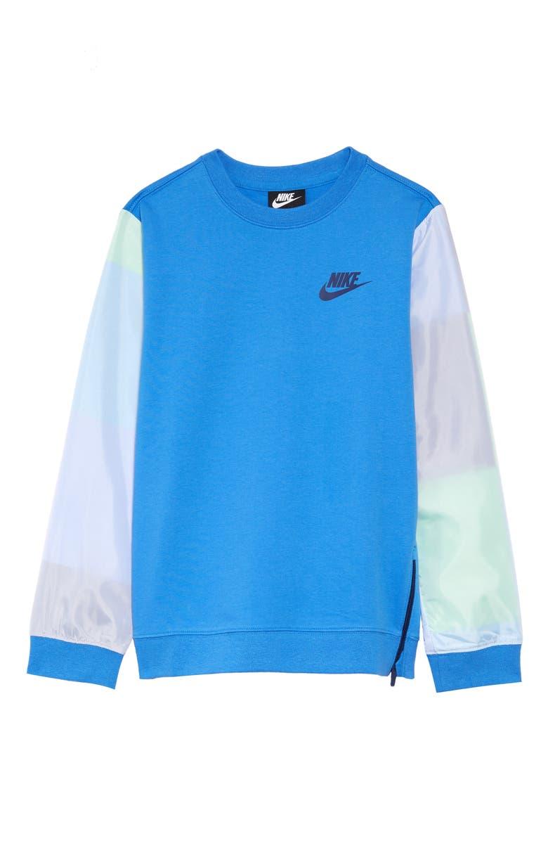 NIKE Sportswear Colorblock Sweatshirt, Main, color, PACIFIC BLUE/ WHITE/ BLUE VOID