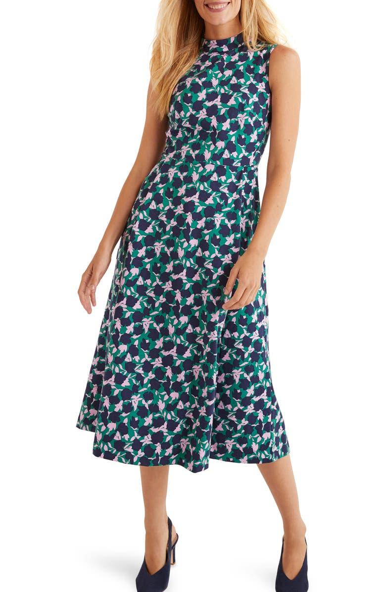 BODEN Miriam Floral Sleeveless Ponte Midi Dress, Main, color, 304
