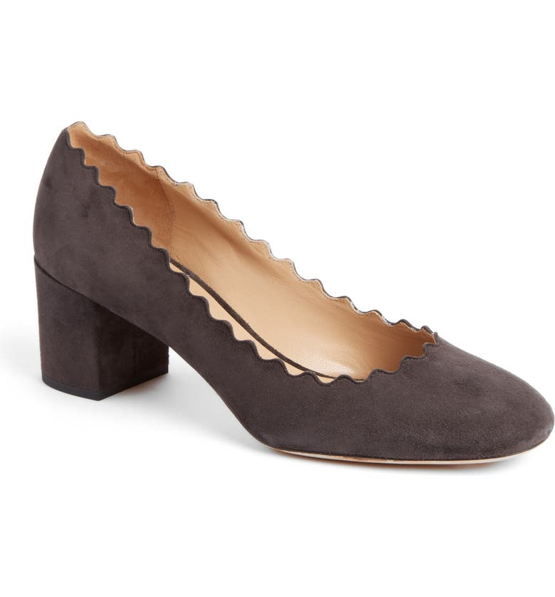 CHLOÉ 'Lauren' Scalloped Pump, Main, color, BLACK