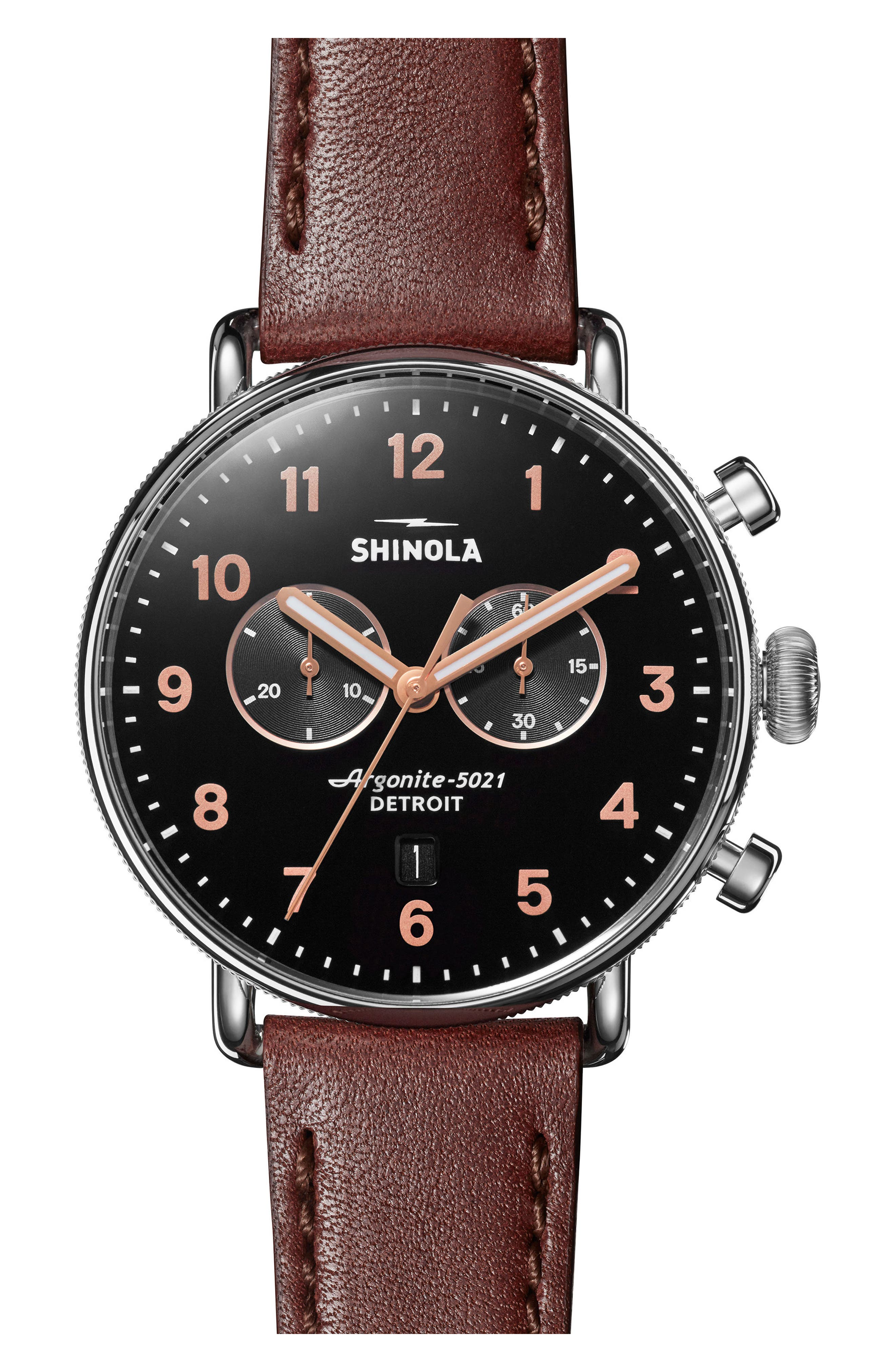 ,                             The Canfield Chrono Leather Strap Watch, 43mm,                             Main thumbnail 1, color,                             DARK COGNAC/ BLACK/ SILVER