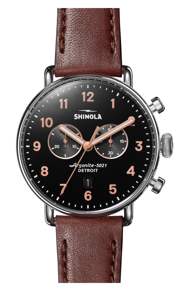 SHINOLA The Canfield Chrono Leather Strap Watch, 43mm, Main, color, DARK COGNAC/ BLACK/ SILVER