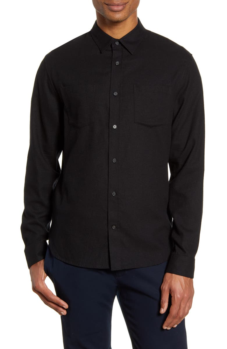 VINCE Slim Fit Cotton & Wool Brushed Twill Button-Up Shirt, Main, color, BLACK