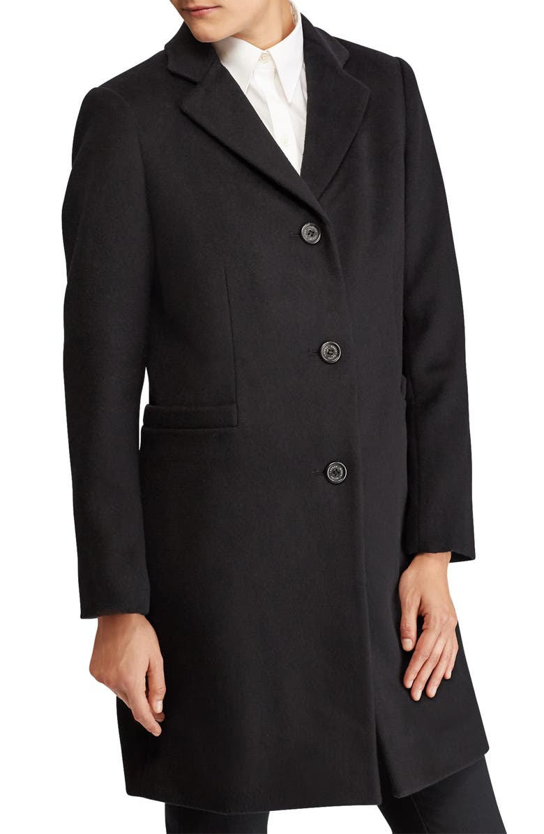 LAUREN RALPH LAUREN Wool Blend Reefer Coat, Main, color, 002