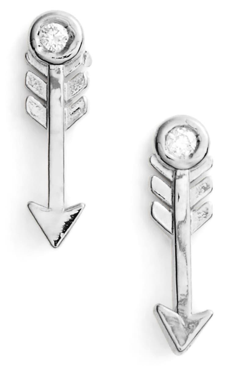 SYD BY SYDNEY EVAN Diamond Arrow Stud Earrings, Main, color, SILVER