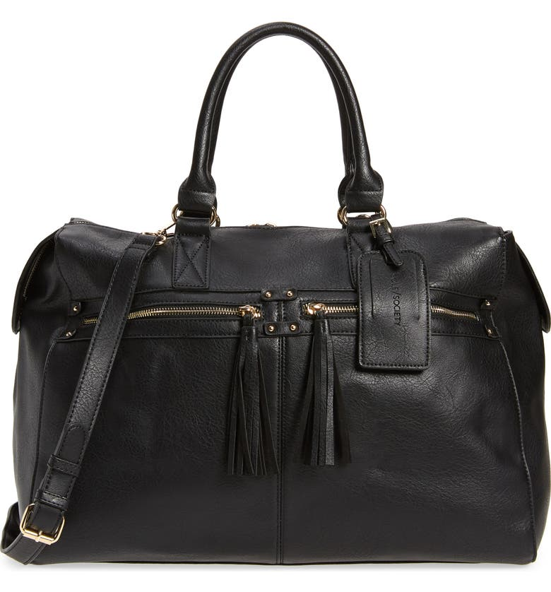SOLE SOCIETY Faux Leather Duffle Bag, Main, color, BLACK