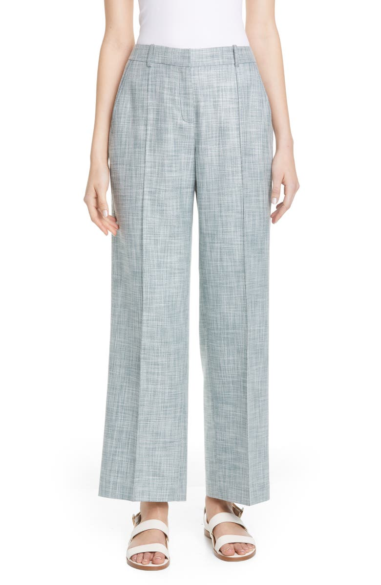 LAFAYETTE 148 NEW YORK Winthrop Cotton, Wool & Silk Pants, Main, color, HERBAL MIST MELANGE