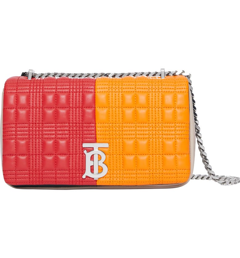 BURBERRY Small Lola Colorblock Quilted Check Leather Shoulder Bag, Main, color, BRIGHT RED/ ORANGE