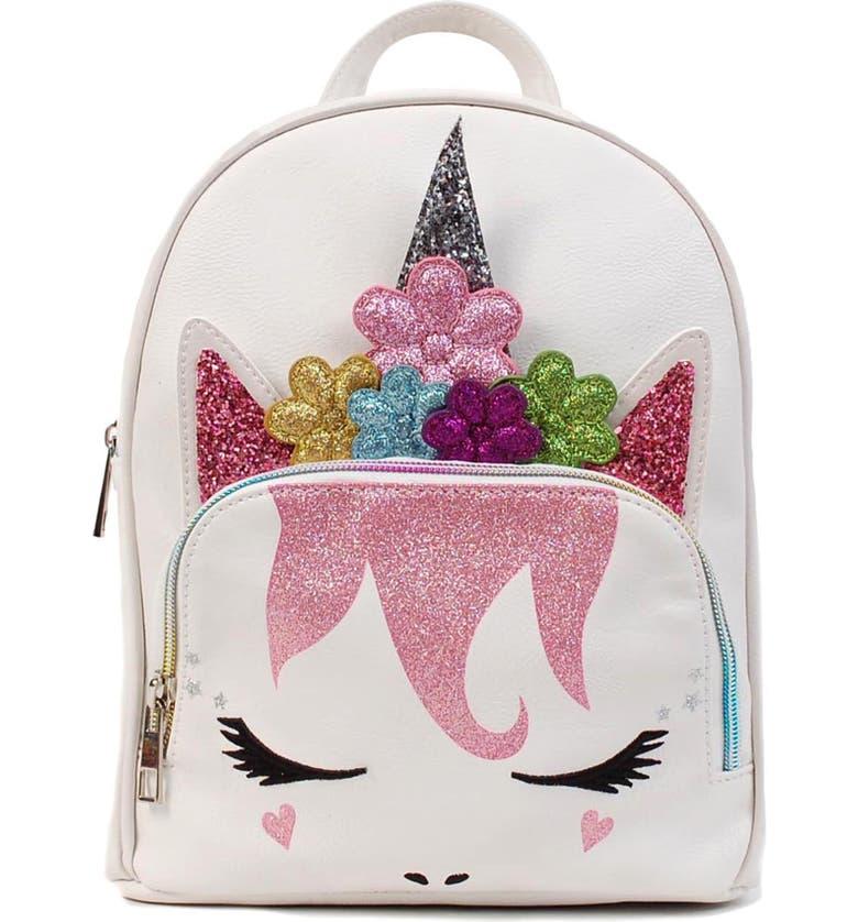 OMG Mini Flower Crown Unicorn Backpack, Main, color, WHITE