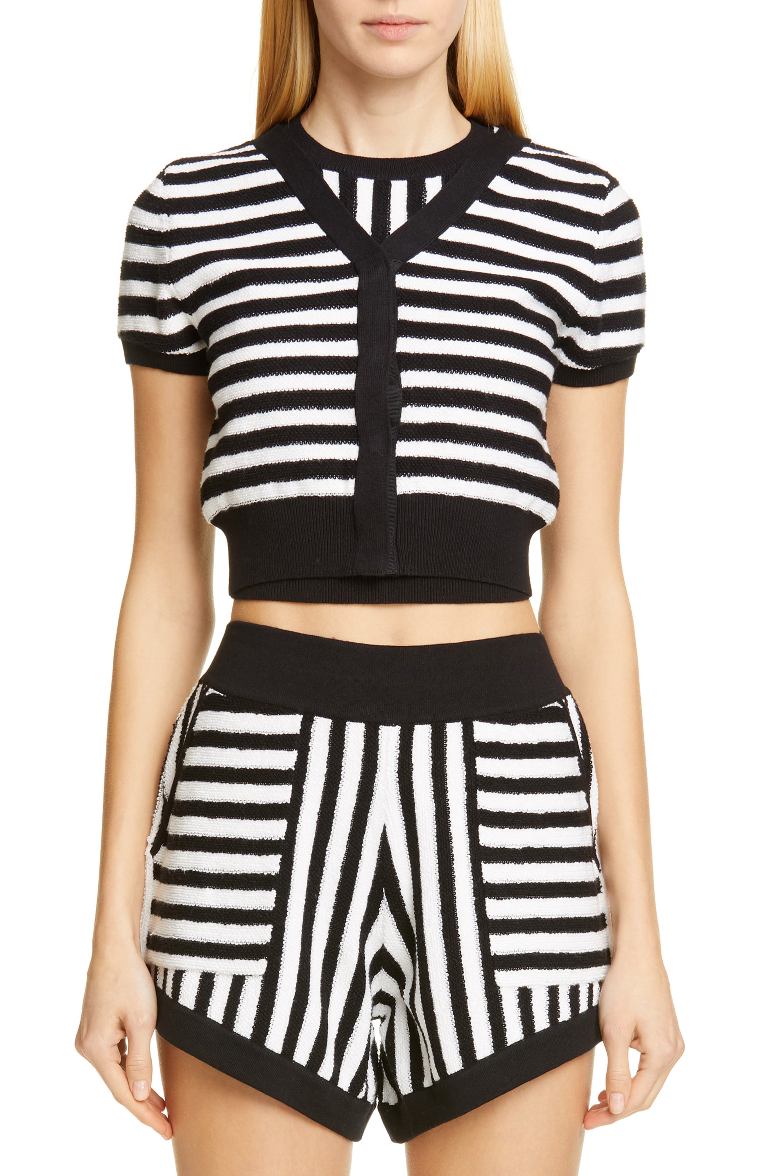 ,                             Short Sleeve Crop Cardigan,                             Main thumbnail 1, color,                             WHITE/ BLACK STRIPES